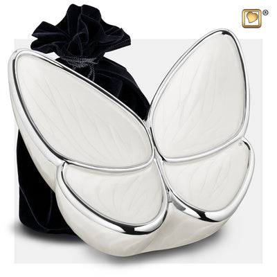 A1042  Wings of Hope™ Adult Urn Pearl White & Pol Silver