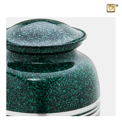 A213  Classic™ Adult Urn Speckled Emerald & Bru Pewter