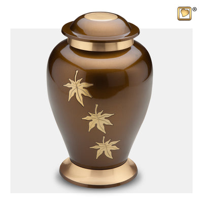 A241  Classic™ Falling Leaves Adult Urn Bronze & Bru Gold