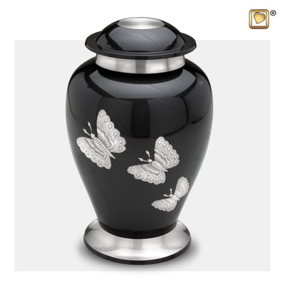 A242  Traditional Butterflies Adult Urn Midnight & Bru Pewter