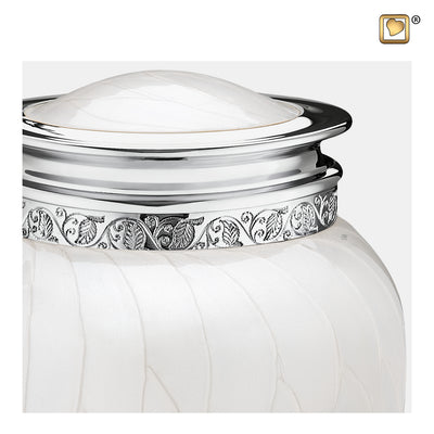A297  Blessing™ Adult Urn Pearl White & Pol Silver
