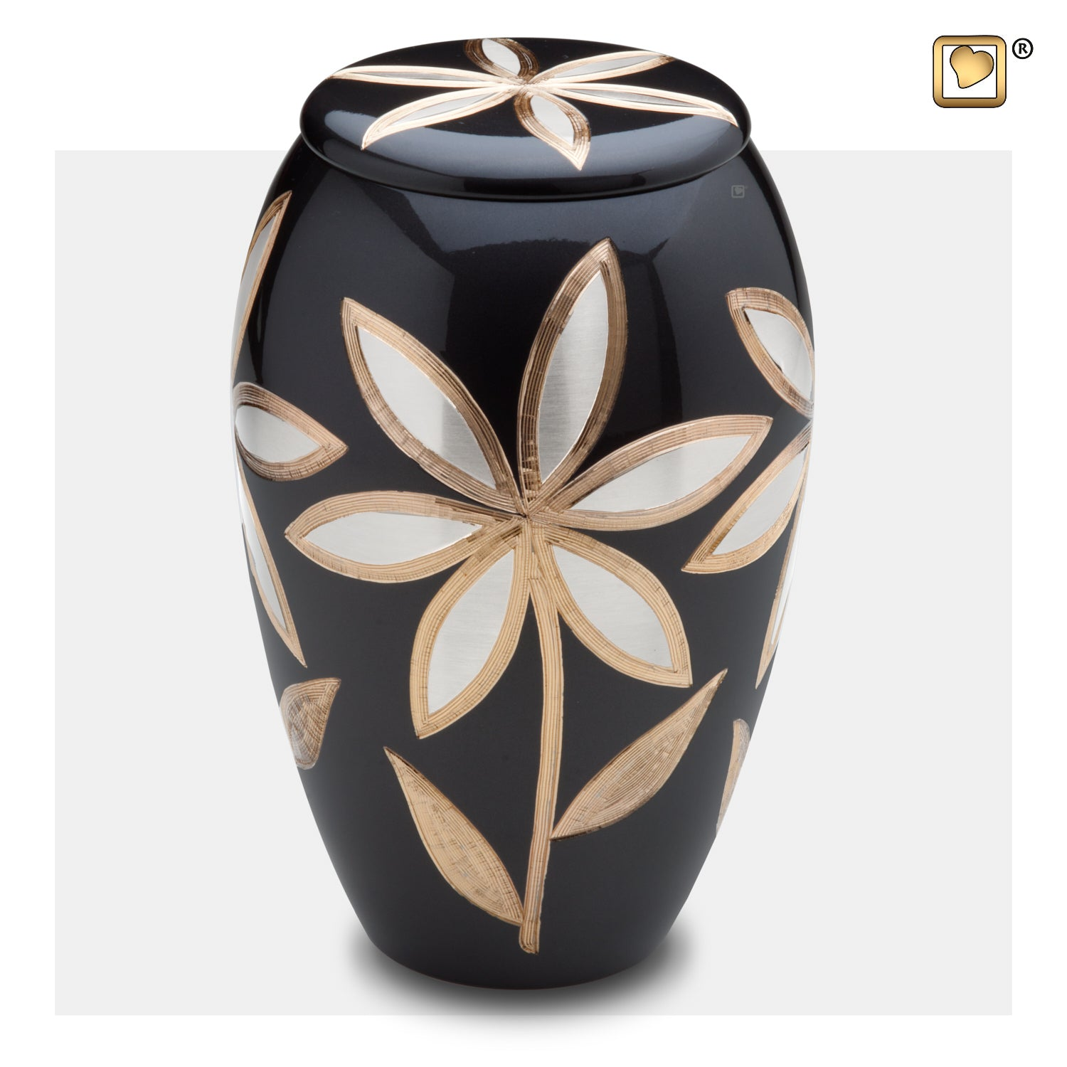 A503  Majestic™ Lillies Adult Urn Midnight & Bru Pewter