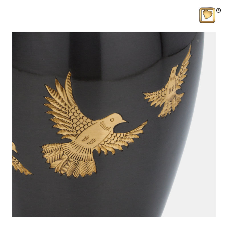 A506  Majestic™ Flying Dove Adult Urn Midnight & Bru Gold