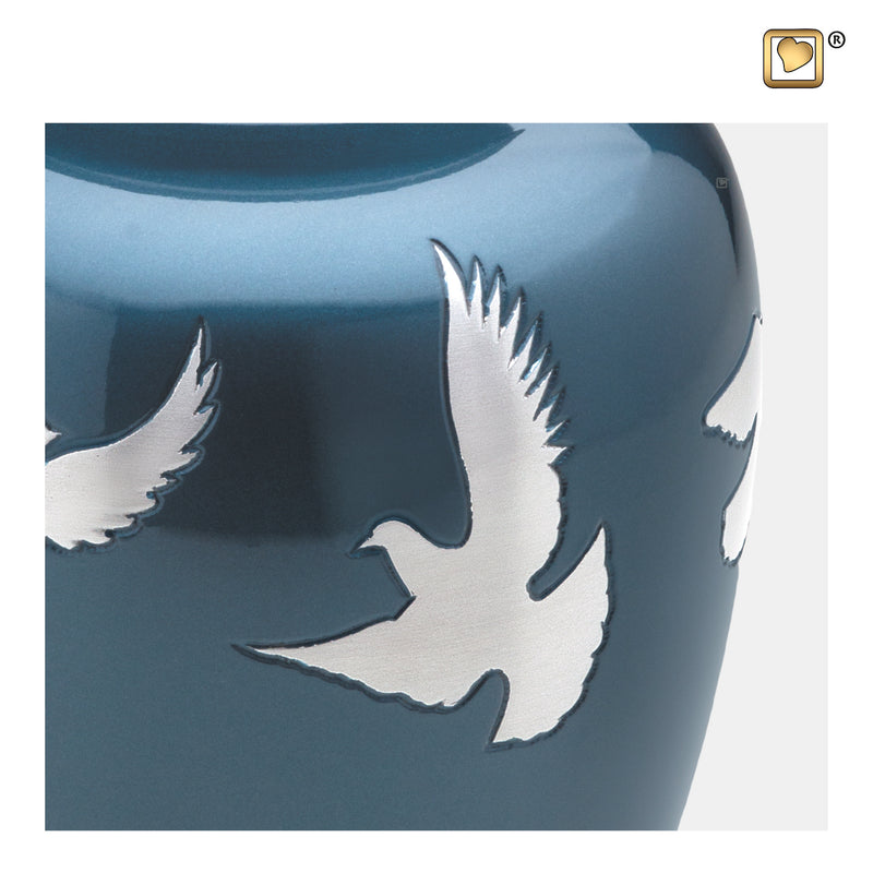 A572  Divine™ Flying Doves Adult Urn Blue & Bru Pewter