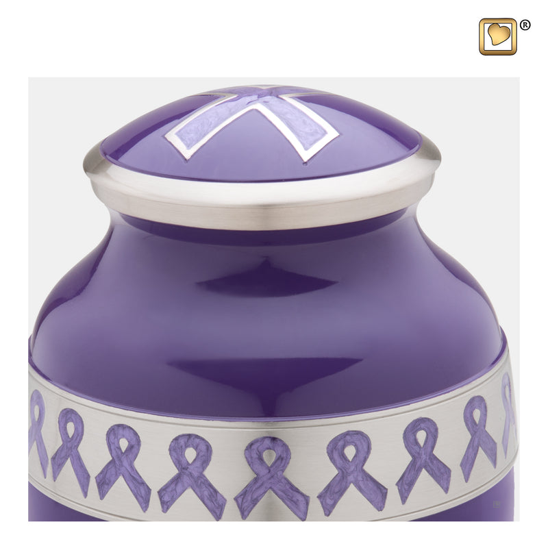 A901  Awareness™ Adult Urn Purple & Bru Pewter