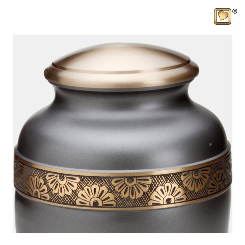 A902  Floral Band Adult Urn Slate & Bru Gold