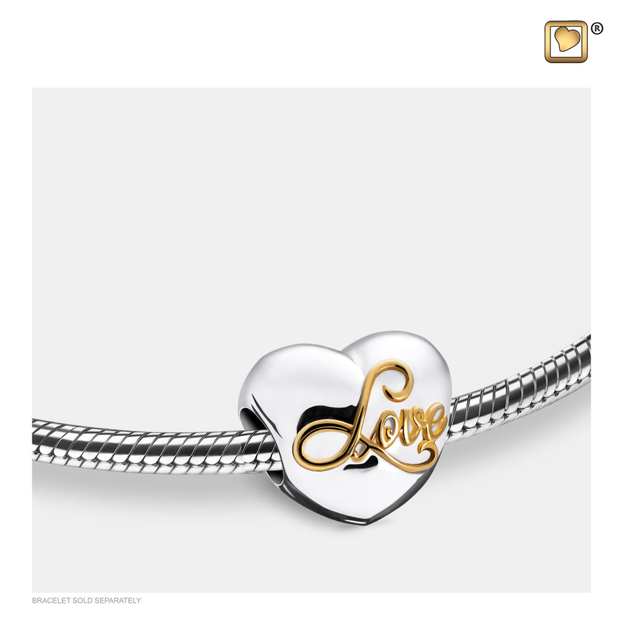 BD2002 BEAD Spell your Love™ Rhodium Plated Gold Vermeil Two Tone