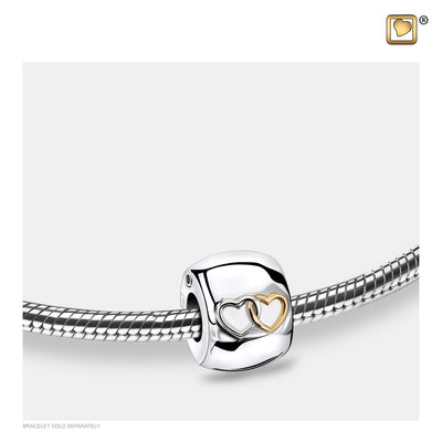 BD2014 BEAD Entwined Hearts™ Rhodium Plated Gold Vermeil Two Tone