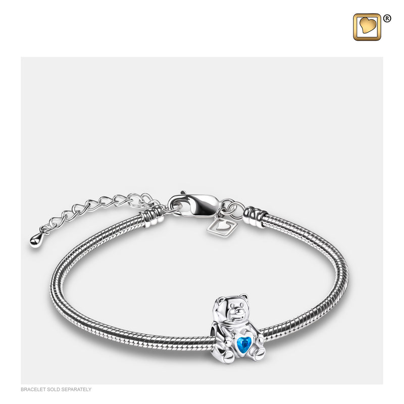 BD2081 BEAD CuddleBear™ Rhodium Plated with Blue Crysta