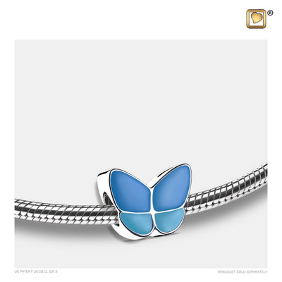 BD2091 BEAD Wings Of Hope™ Blue Enamel Rhodium Plated