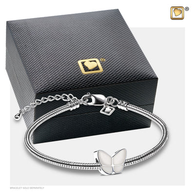 BD2092 BEAD Wings Of Hope™ Pearl Enamel Rhodium Plated