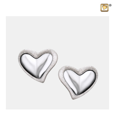 ER1000 STUD EARRINGS Leaning Heart™ Rhodium Plated Two Tone