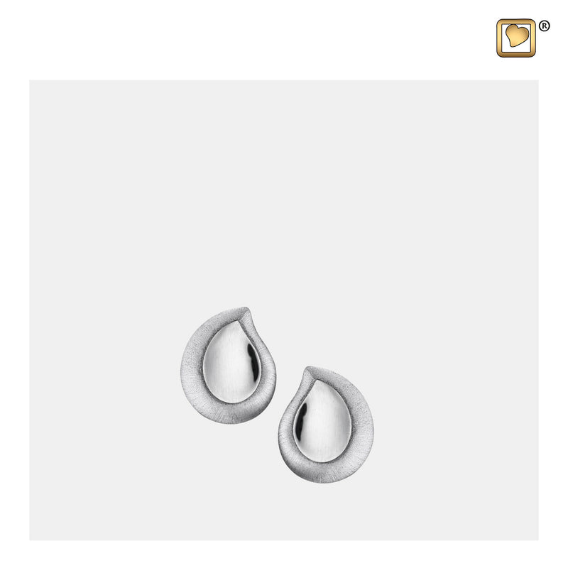 ER1020 STUD EARRINGS TearDrop™ Rhodium Plated Two Tone