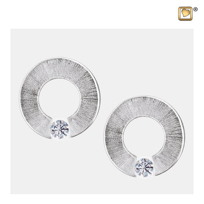 ER1040 STUD EARRINGS Omega™ Rhodium Plated Two Tone with Clear Crystal