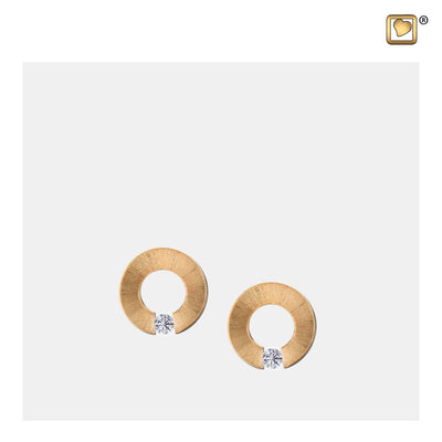 ER1041 STUD EARRINGS Omega™ Gold Vermeil Two Tone with Clear Crystal