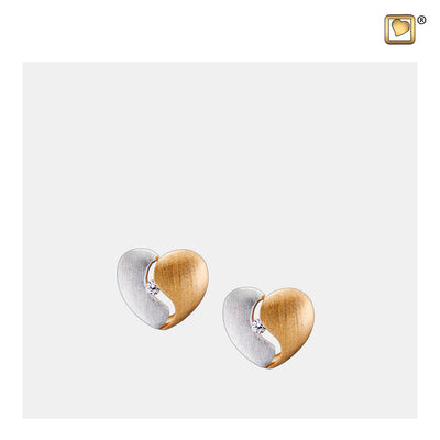 ER1050 STUD EARRINGS Heartfelt™ Gold Vermeil Two Tone with Clear Crystal