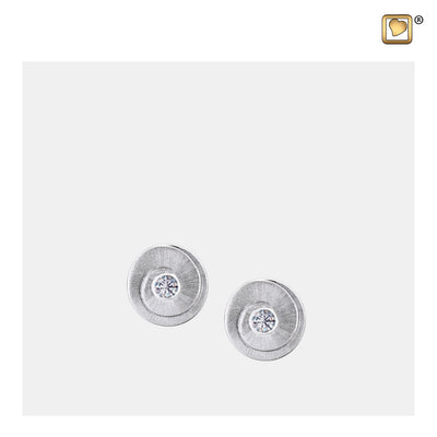 ER1060 STUD EARRINGS Eternity™ Rhodium Plated Two Tone with Clear Crystal
