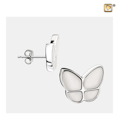 ER1202 STUD EARRINGS Wings Of Hope™ Pearl Enamel Rhodium Plated