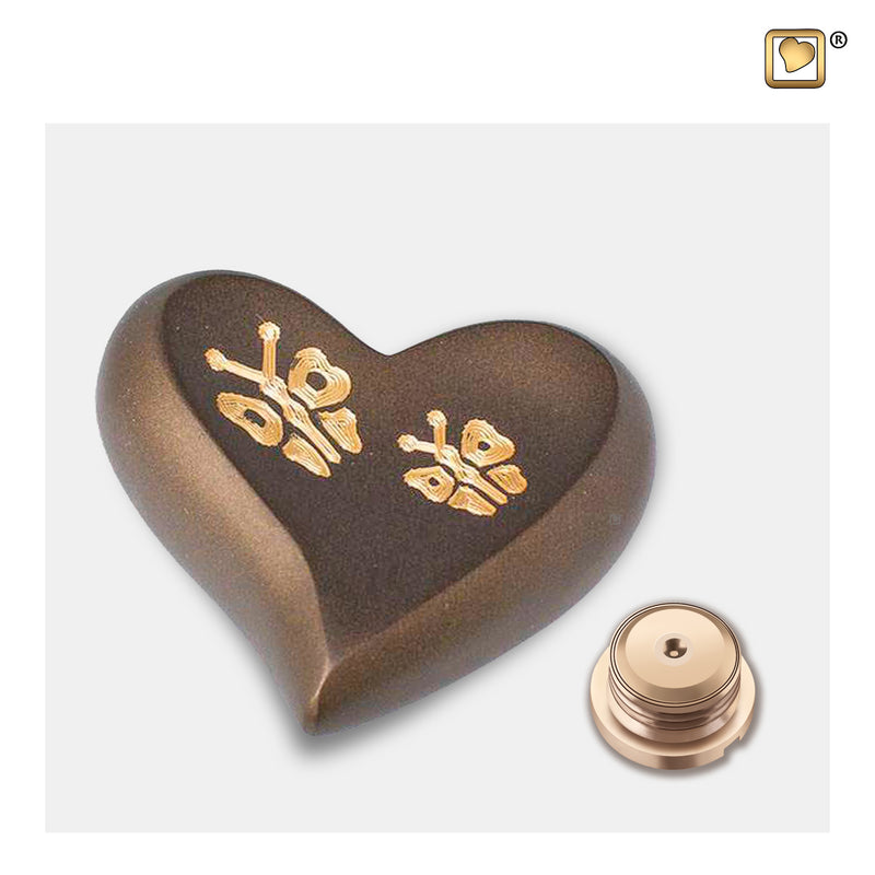 H543  Elegant™ Butterfly Heart Keepsake Urn Bronze & Bru Gold