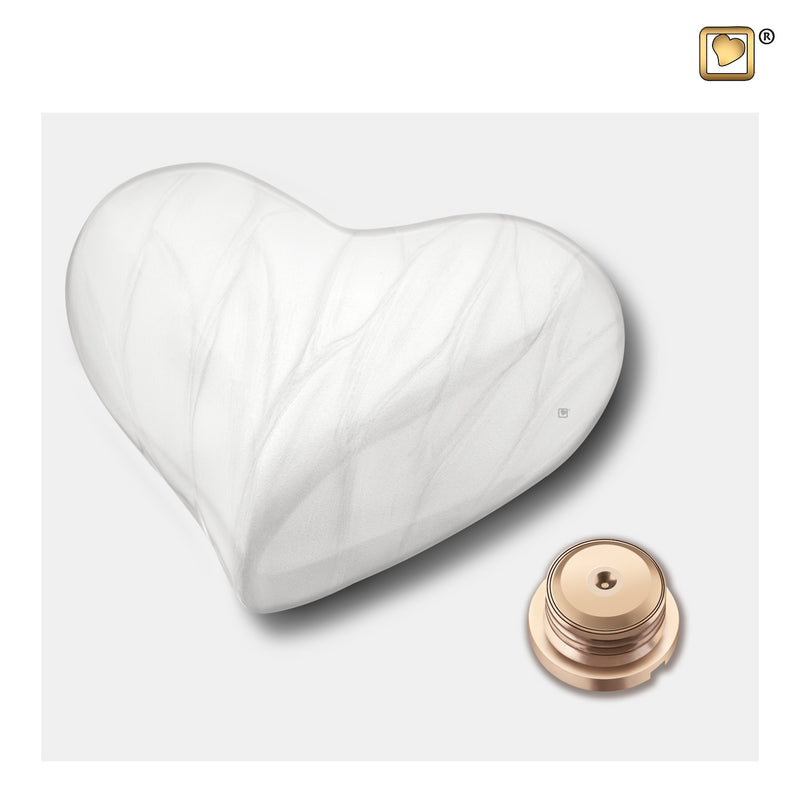 H669  Heart Child Urn Pearl White