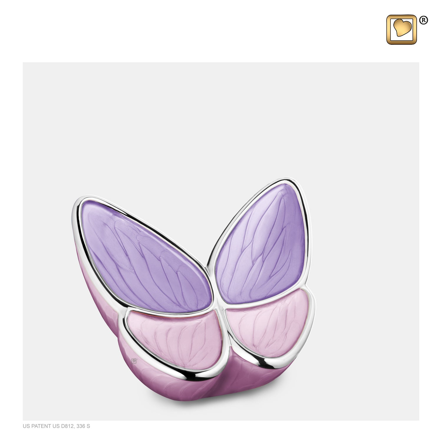 K1040  Wings of Hope™ Keepsake Urn Pearl Lavender & Pol Silver