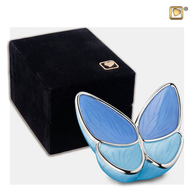 K1041  Wings of Hope™ Keepsake Urn Pearl Blue & Pol Silver