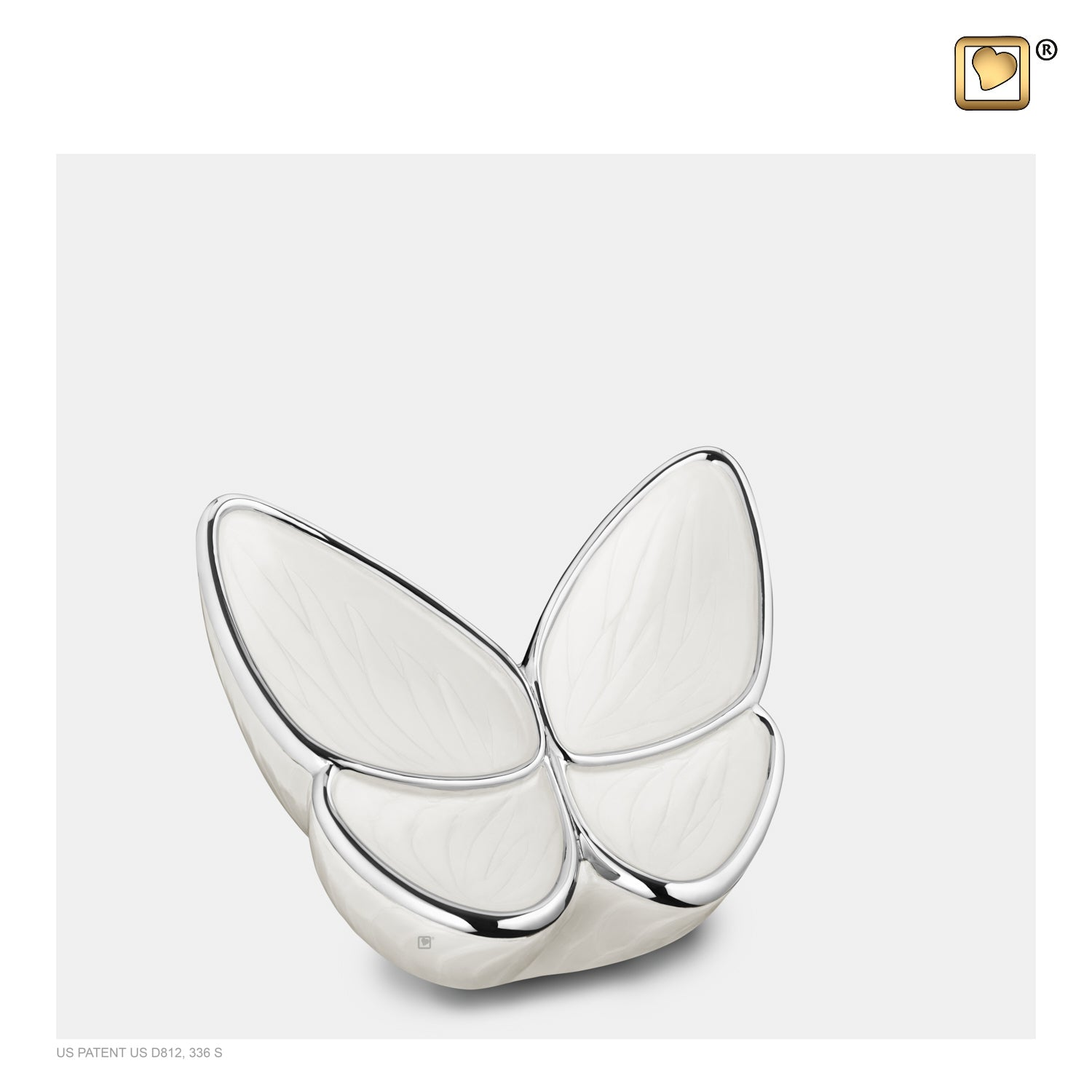 K1042  Wings of Hope™ Keepsake Urn Pearl White & Pol Silver