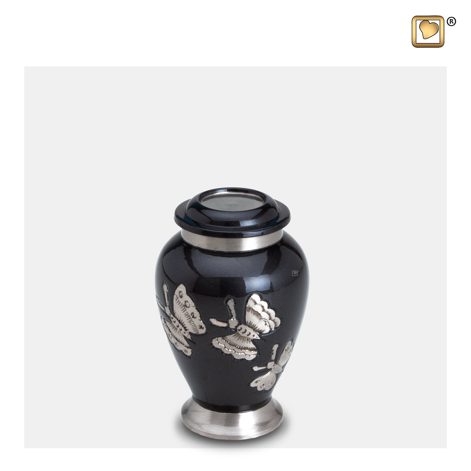 K242  Traditional Butterflies Keepsake Urn Midnight & Bru Pewter