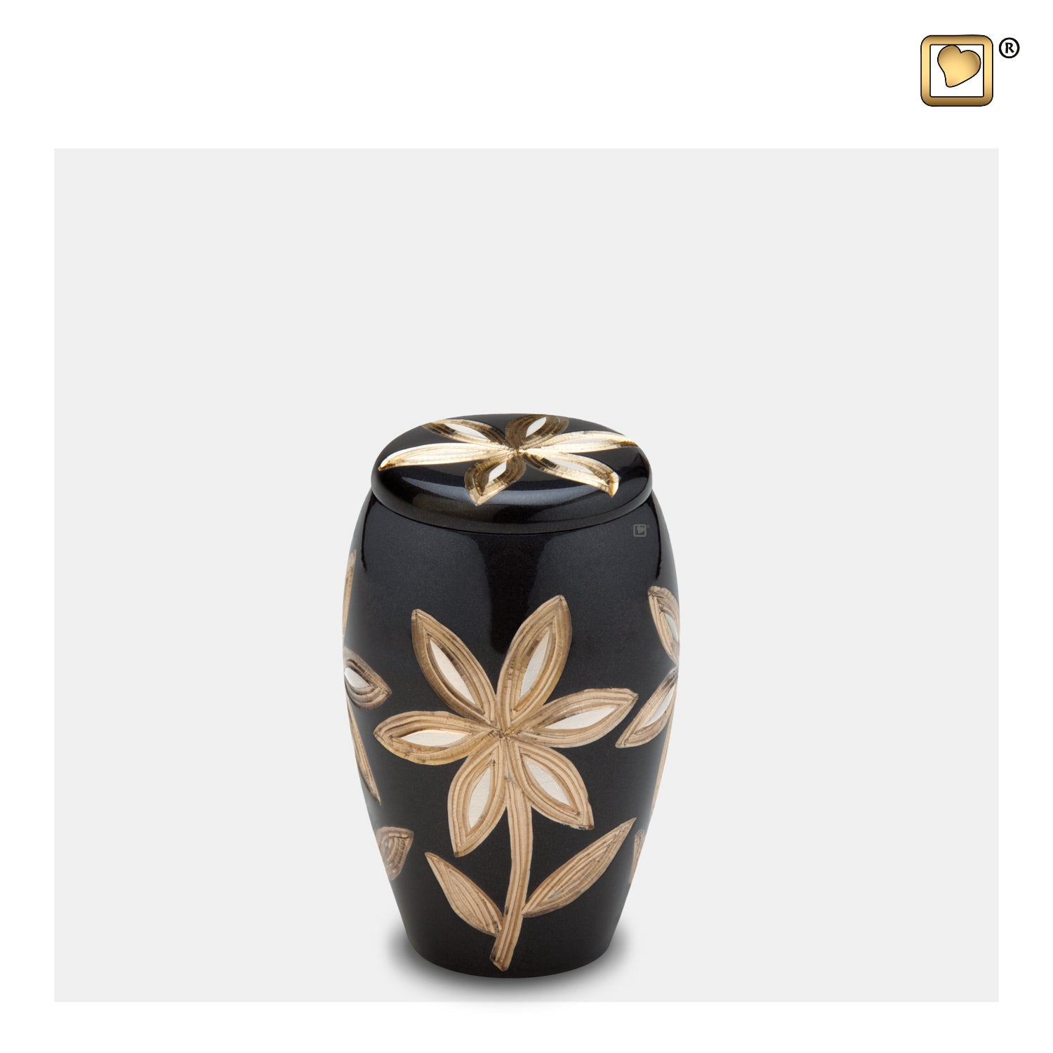 K503  Majestic™ Lillies Keepsake Urn Midnight & Bru Pewter