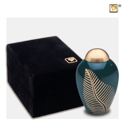 K540  Elegant Leaf™ Keepsake Urn Green & Bru Gold
