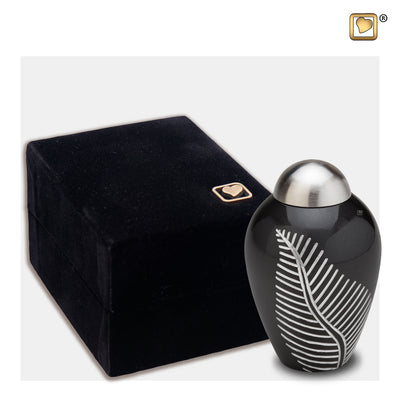 K542  Elegant Leaf™ Keepsake Urn Midnight & Bru Pewter