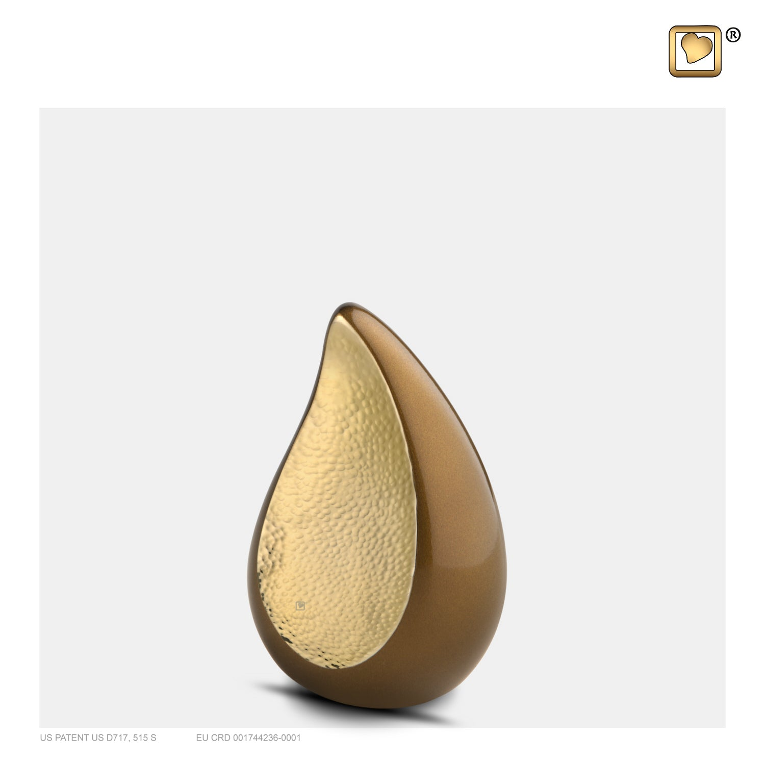 K581  TearDrop™ Keepsake Urn Bronze & Hmd Gold