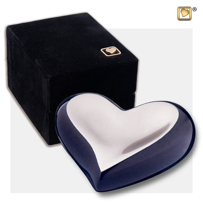 K611  Heart Keepsake Urn Midnight & Bru Pewter