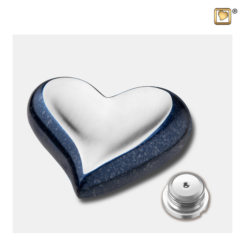 K614  Heart Keepsake Urn Speckled Indigo & Bru Pewter