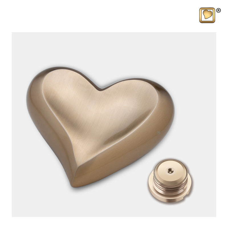 K616  Heart Keepsake Urn Bru Gold