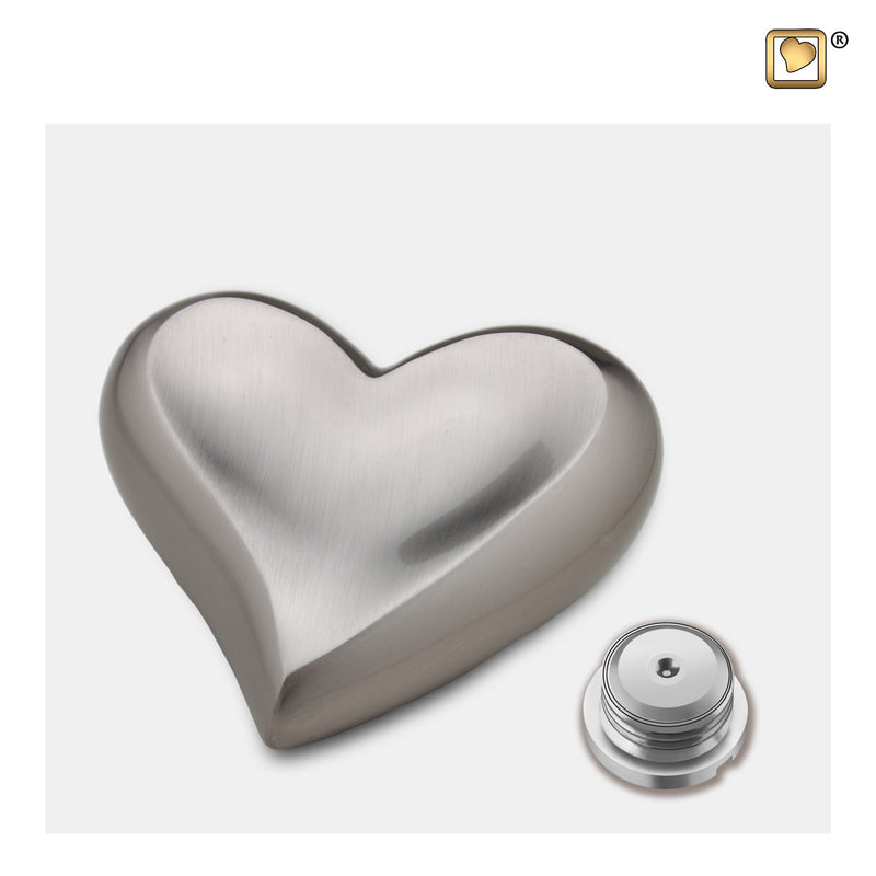 K617  Heart Keepsake Urn Bru Pewter