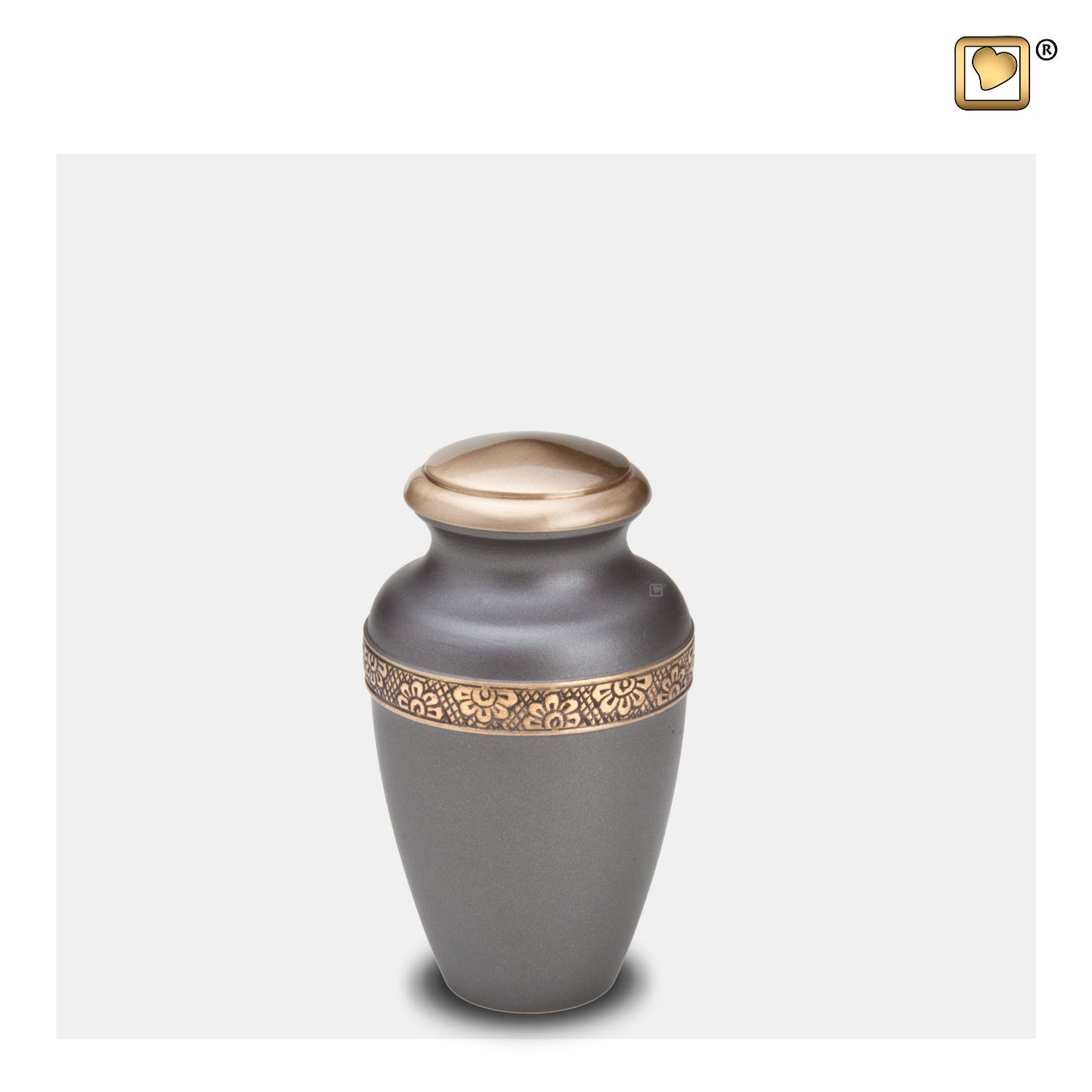 K902  Floral Band Keepsake Urn Slate & Bru Gold