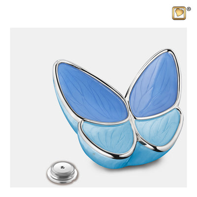 M1041  Wings of Hope™ Medium Urn Peal Blue & Pol Silver