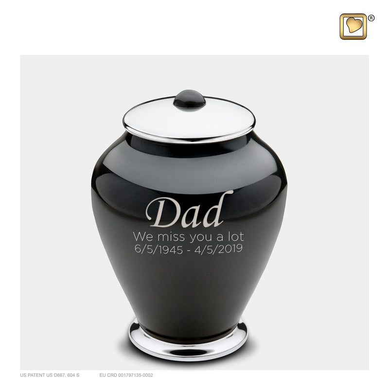 M520  Simplicity™ Medium Urn Midnight & Pol Silver