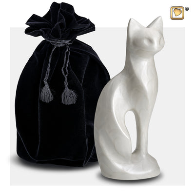 P260  Cat Pet Urn Pearl White