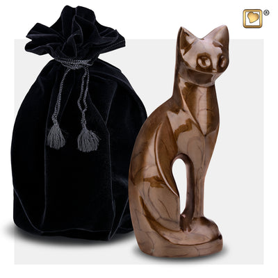 P262  Cat Pet Urn Pearl Bronze