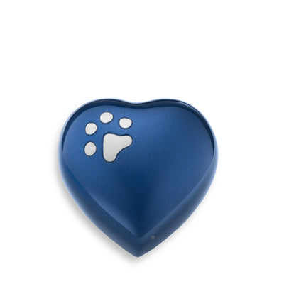 P271K  Keepsake Heart Pet Urn Blue & Bru Pewter
