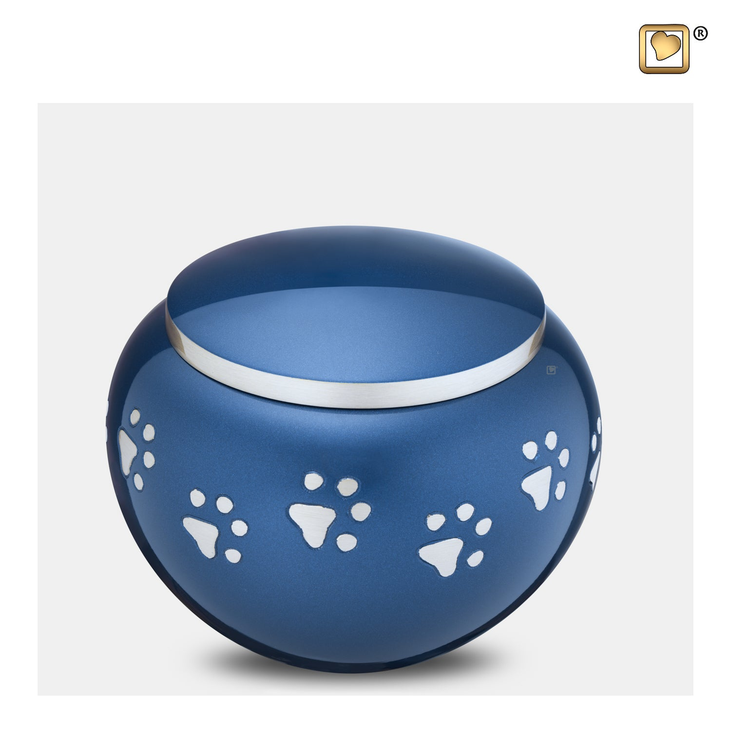 P271M  Classic™ Round Medium Pet Urn Blue & Bru Pewter
