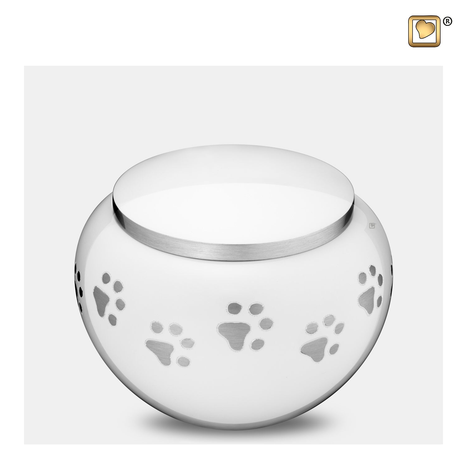 P272M  Classic™ Round Medium Pet Urn White & Bru Pewter