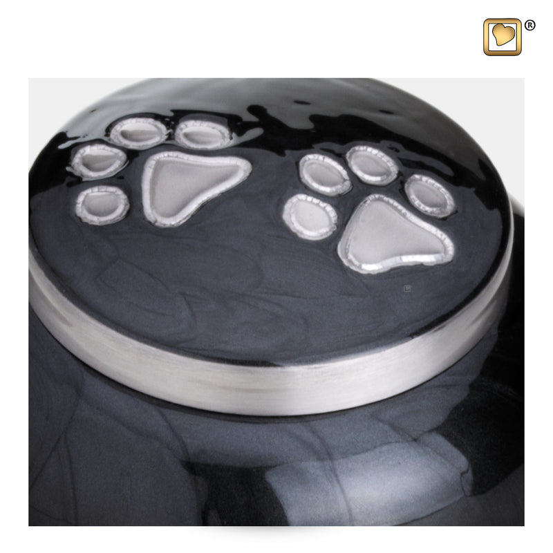 P273L  Classic™ Round Large Pet Urn Midnight & Bru Pewter