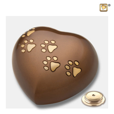 P630L  Large Heart Pet Urn Bronze & Bru Gold