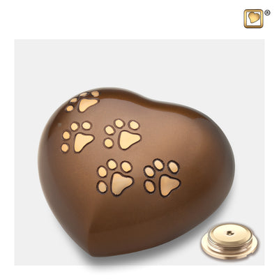 P630M  Medium Heart Pet Urn Bronze & Bru Gold
