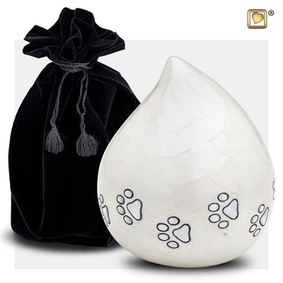 P635  LoveDrop™ Pet Urn Pearl White & Bru Pewter