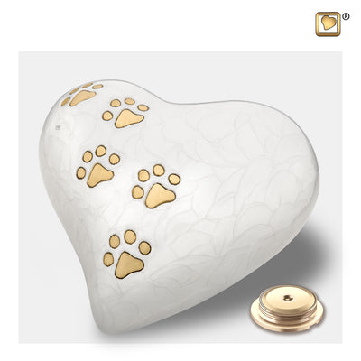 P638L  Large Heart Pet Urn Pearl White & Bru Gold