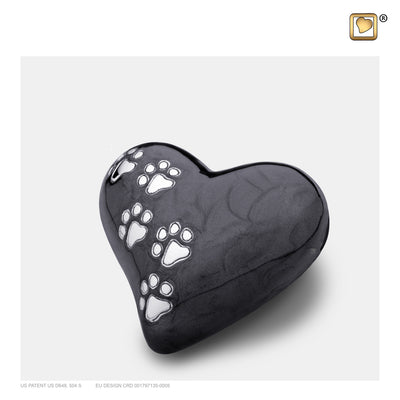 P640K  Keepsake Heart Pet Urn Pearl Midnight & Bru Pewter